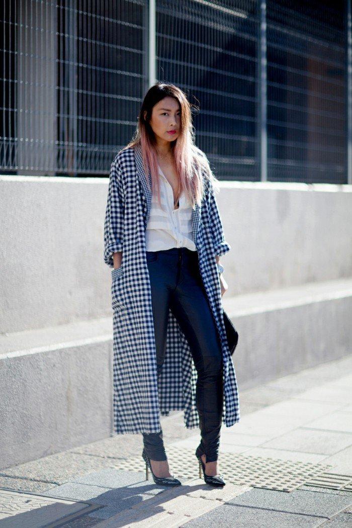 langer-Kimono-mit-kariertem-Muster