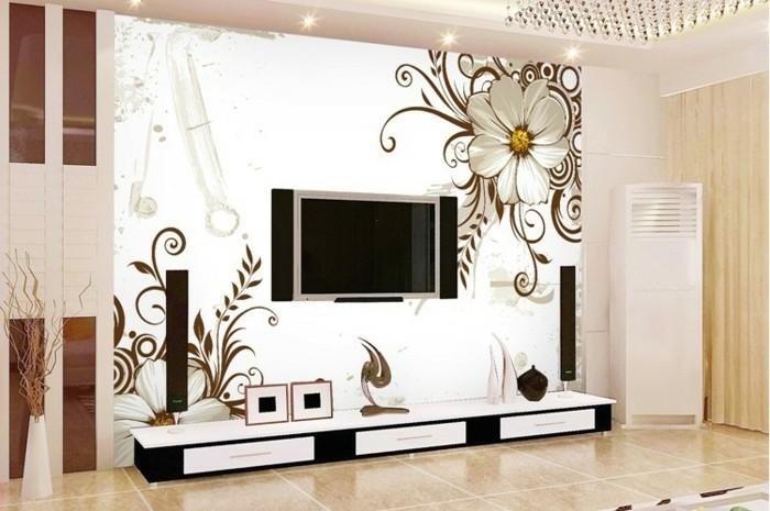 Wohnzimmer Tapeten Gestaltung : Fototapete mit Blumenmustern: romantisches Wohnzimmer gestalten
