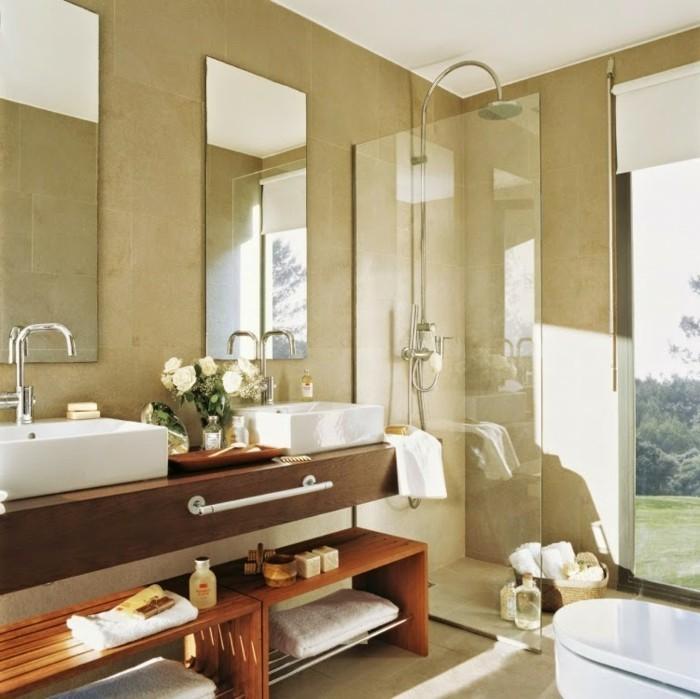 tolles badezimmer design - zwei spiegel und waschtischplatte