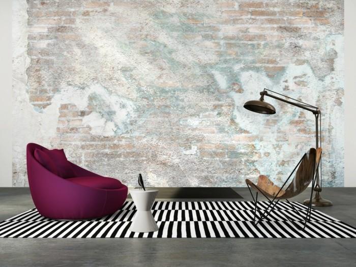 moderne-backstein-tapete-im-schönen-wohnzimmer
