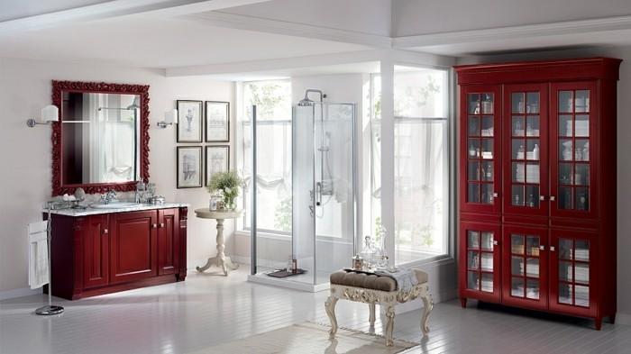 Dusche Glaswand Mit Bild : rote möbel im tollen badezimmer ...