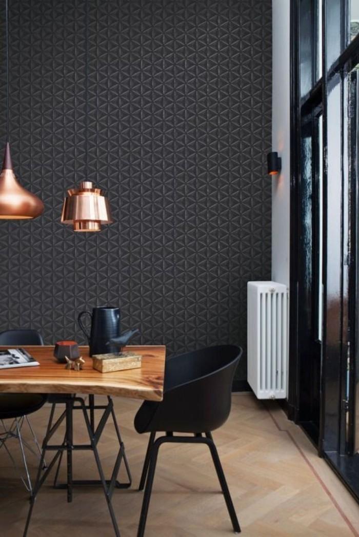modernes-Interieur-schwarzer-Stuhl-mit-feinem-Design