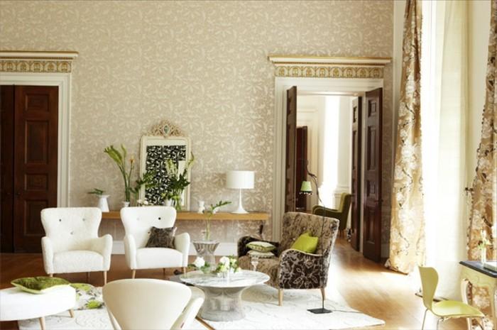 115 sch ne ideen f r wohnzimmer in beige for Goldene tapete wohnzimmer