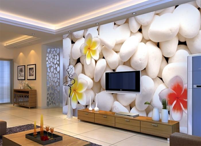 wohnzimmer wand steine:modernes wohnzimmer mit interessanten fototapeten – blumen und steinen