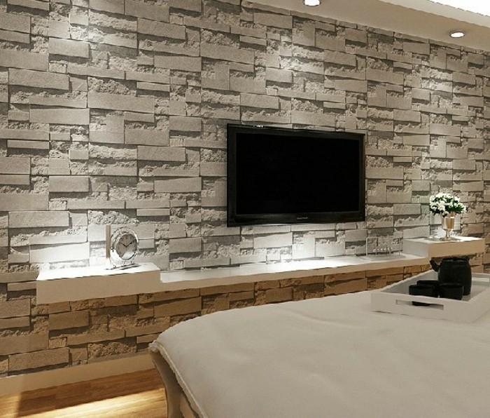tapete wohnzimmer 2016:originelle-gestaltung-tapete-steinoptik-wunderschönes-schlafzimmer