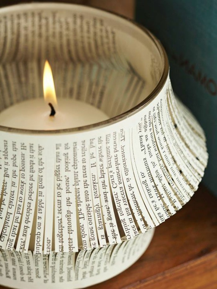 origineller-DIY-Kerzenhalter-aus-Buchpapier