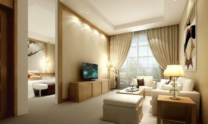 romantische-interieur-beige-wandfarbe-fürs-wohnzimmer-tolle-gardinen