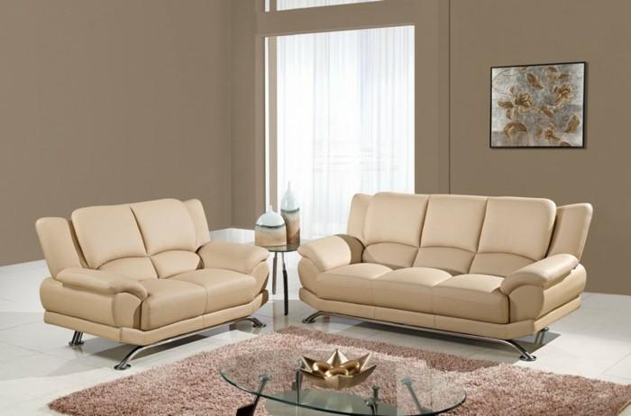 schöne wohnzimmer farbe:zwei schöne sofas in beige farbe – kleines wohnzimmer gestalten