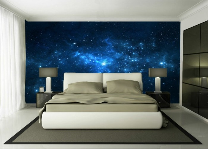 unikales schlafzimmer mit 3d tapeten - blaue gestaltung