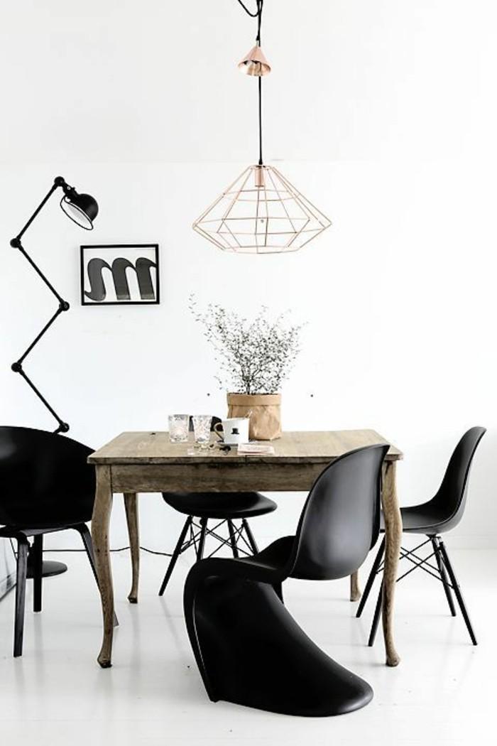 schwarz-weißes-Esszimmer-Interieur-Kupfer-Leuchte