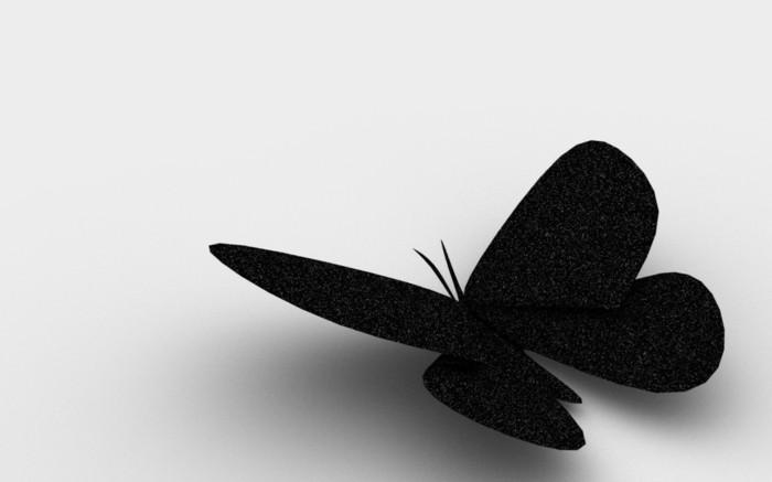 schwarzes-modell-schmetterling-basteln-weißer-hintergrund