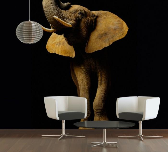 super-tolle-fototapeten-elefant-figur-zwei-weiße-stühle