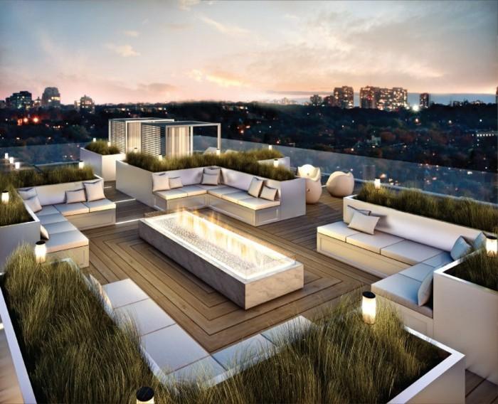 terrassengestaltung-ideen-foto-von-oben-genommen-weiße-möbel-tolle-beleuchtung