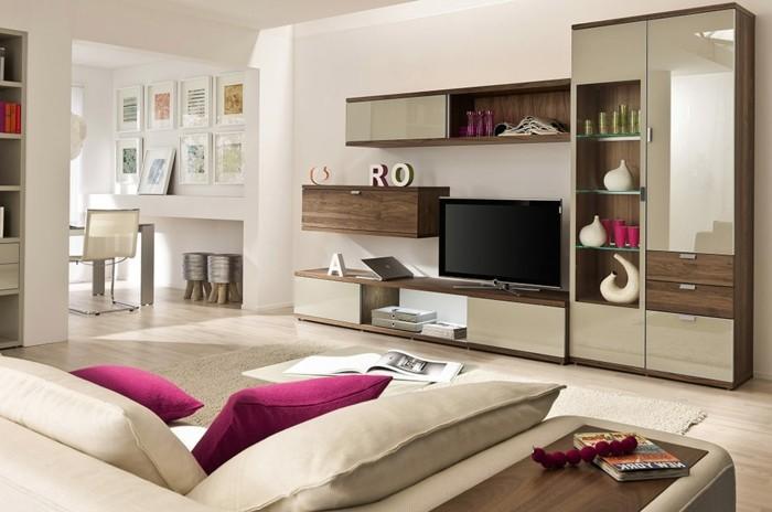 tolles wohnzimmer beige gestalten zyklamenfarbige kissen auf dem - Modernes Wohnzimmer Beige