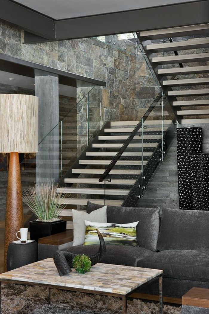 treppe mit glasgel nder f r schickes interieur. Black Bedroom Furniture Sets. Home Design Ideas