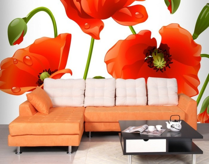 wohnzimmer rot orange. Black Bedroom Furniture Sets. Home Design Ideas