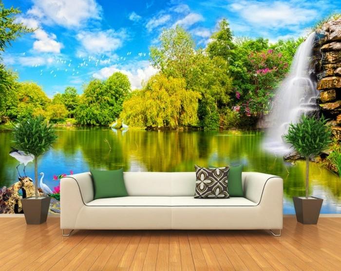 unikale-fototapete-wald-weißes-sofa-im-wohnzimmer