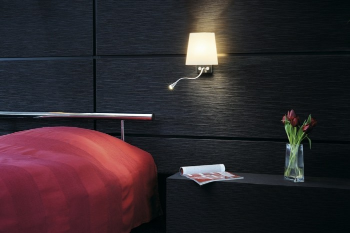 moderne wandleuchten im gemütlichen schlafzimmer