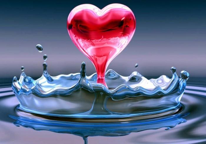 Valentinstag Bilder Rosiges Modell Herz Im Wasser