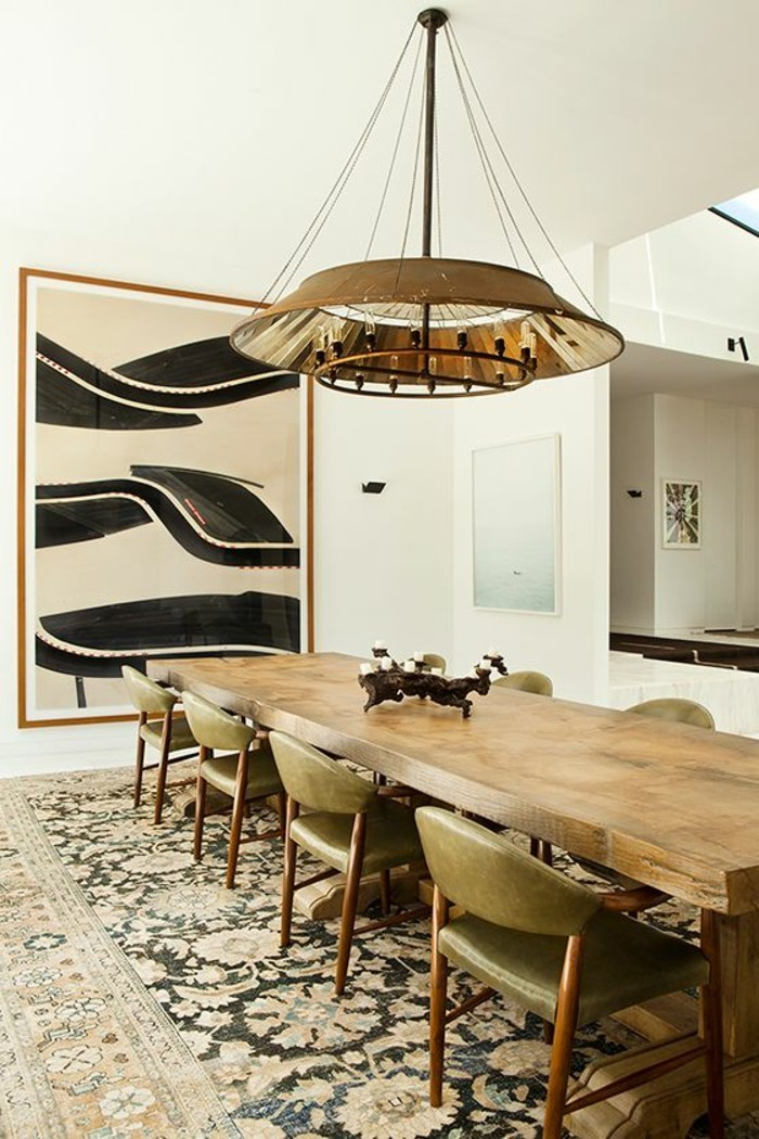 vintage-Gestaltung-des-Esszimmers-Holz-Leder