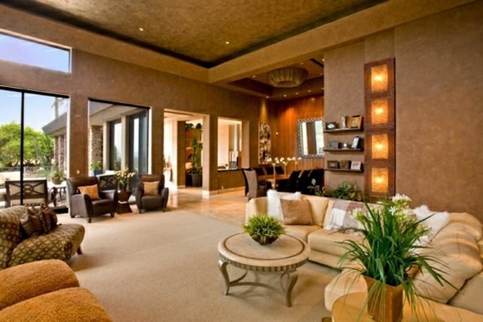 Wandfarbe Wohnzimmer Braun : Interessantes Sofa mit auffälliger Farbe ...