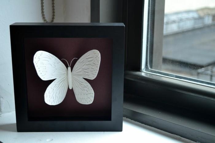 weißes-modell-schmetterling-basteln-sehr-schöne-dekoration