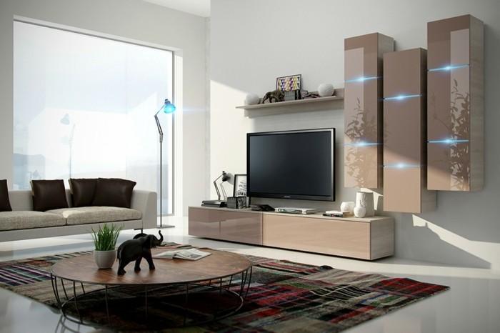 wohnzimmer-wandfarbe-beige-und-weiß-interessante-farbmischung