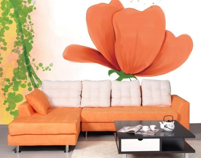 wunderschöne-fototapete-blumen-orange-farbe
