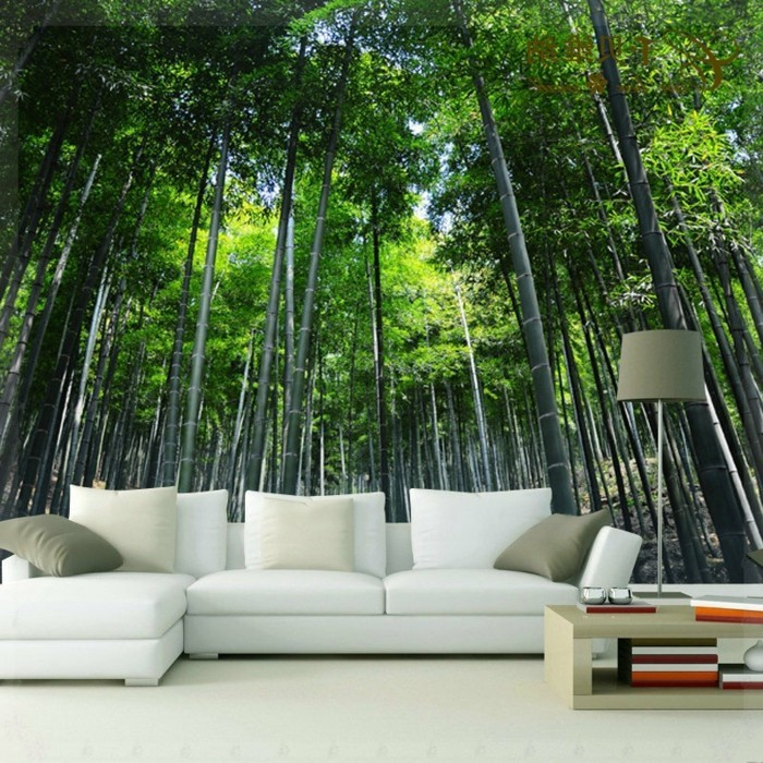 wunderschöne-fototapete-wald-weißes-sofa-moderne-gestaltung