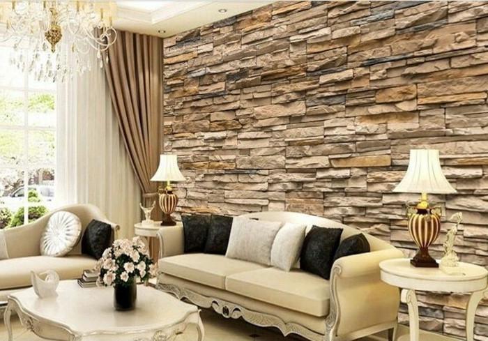 tapete wohnzimmer 2016:Die Steinoptik Tapeten passen super schön dem Kristallleuchter