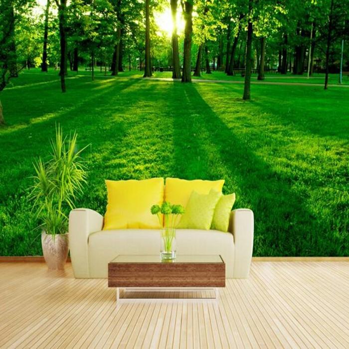 wunderschönes-modell-fototapete-wald-hinter-einem-gelben-sofa