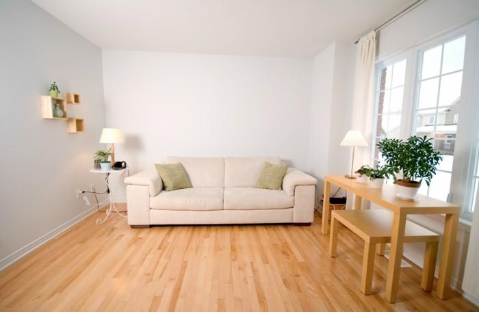 elegantes weißes sofa - mit zwei dekokissen - kleines wohnzimmer