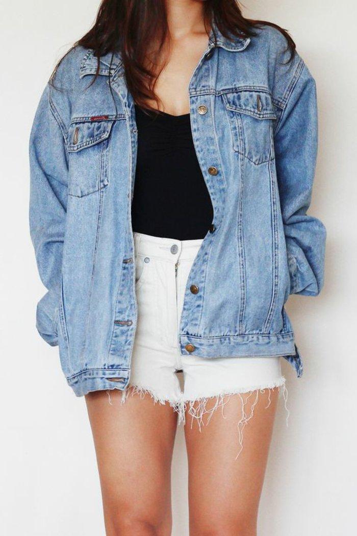 Lange zerrissene jeansjacke damen