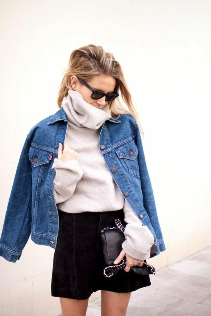 0-warmer-Maxi-Pullover-kurzer-schwarzer-Rock-Jeansjacke