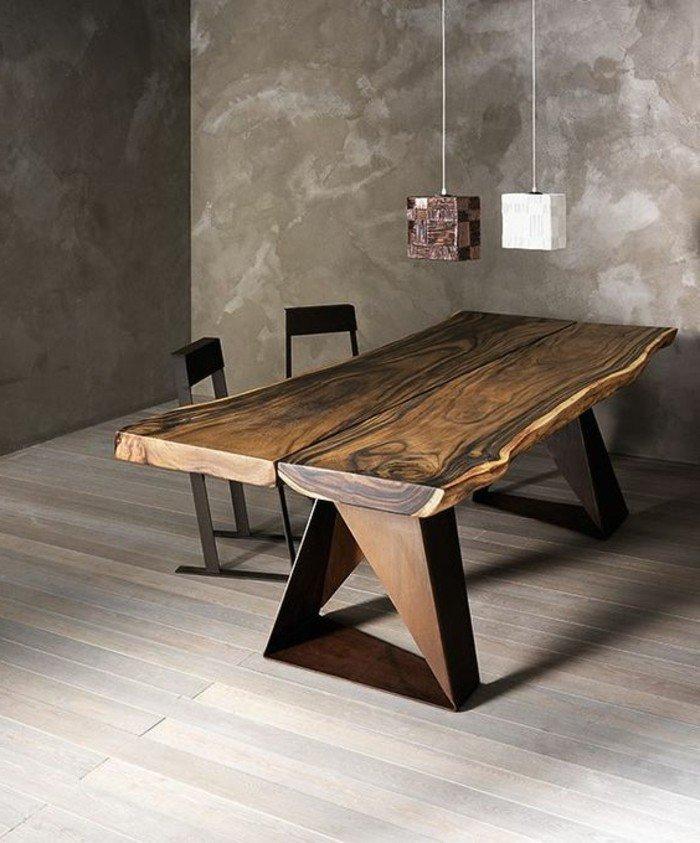 Der esszimmertisch und sein platz unter den m beln for Table en bois brut design