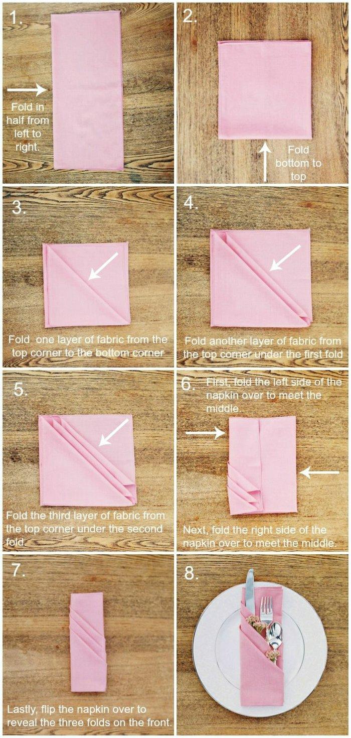 1-Varianten-für-Serviette-falten-rosa-Serviette