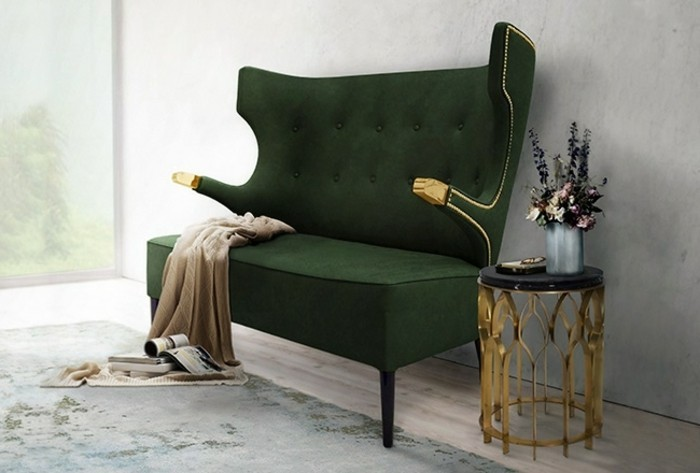 3-aristokratisches-grünes-Zweisitzer-Sofa