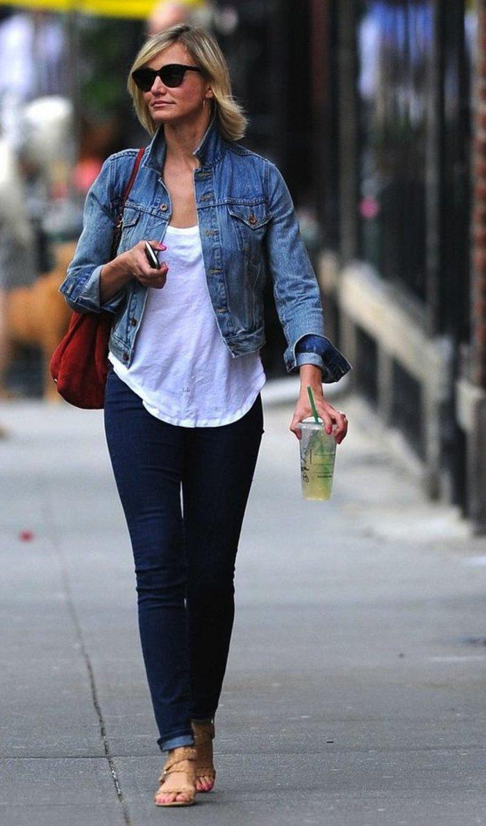 Cameron-Diaz-schöner-Outfit-kurze-Jeansjacke