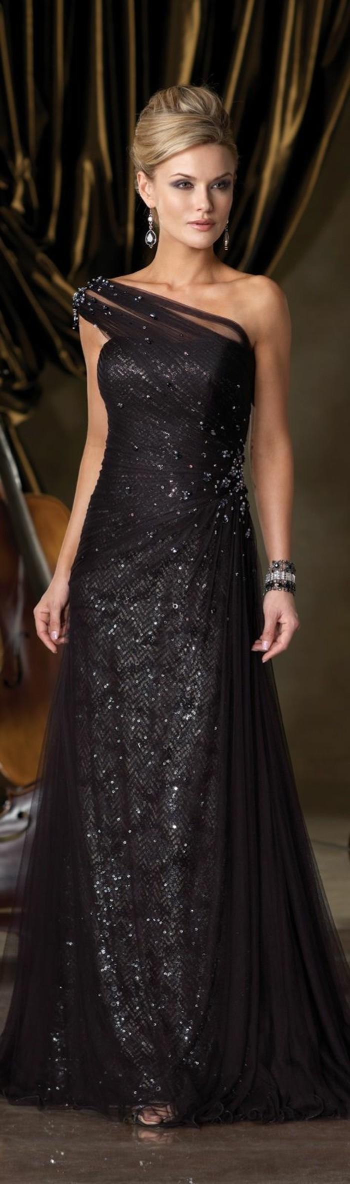 Elegante-Kleider-schulter-schwarz