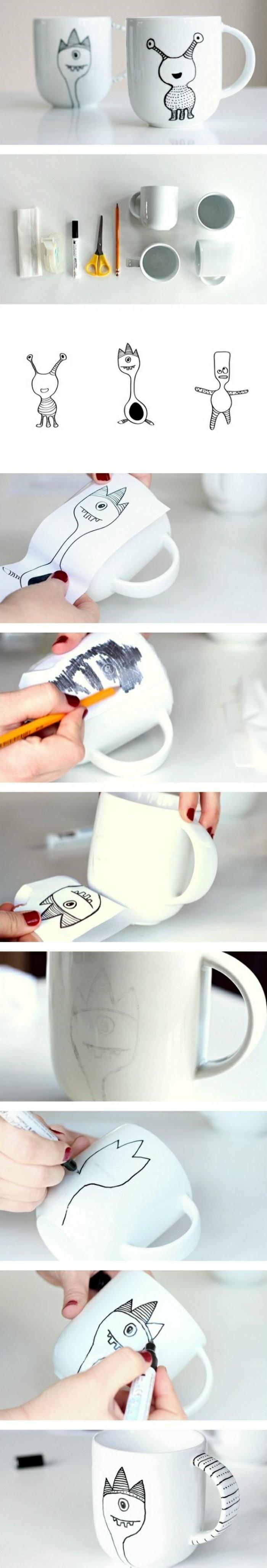 Espressotassen-mit-lustigen-handgemachten-Zeichnungen
