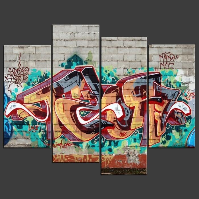 Graffiti-Leinwandbild-fantastische-Wanddekoration-Idee