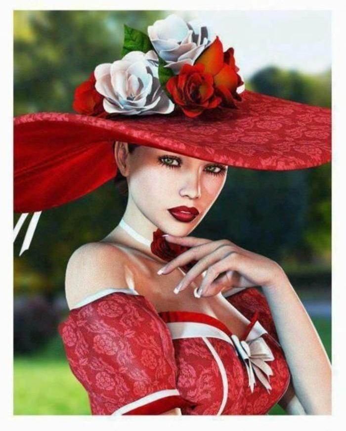 Hut-mit-sehr-breiter-Hutkrempe-dekoriert-mit-Blumen