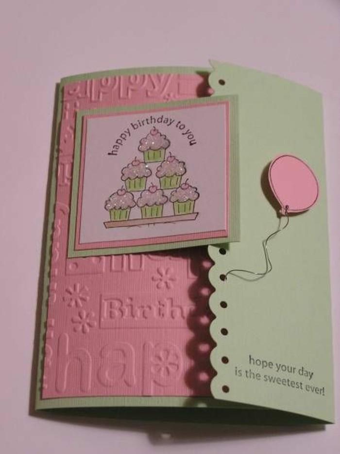 Karten-zum-geburtstag-rosa-und-grün