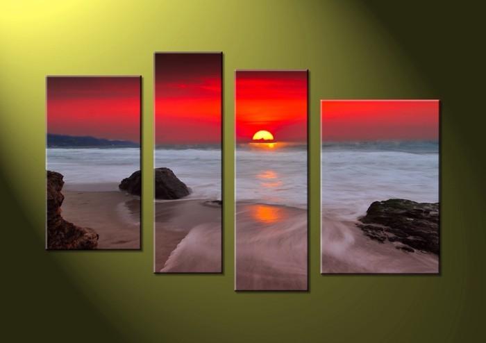 Leinwandbilder-an-grüner-Wand-Sonnenuntergang-Darstellung