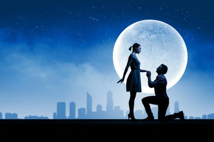 Romantischer-Heiratsantrag-vor-einer-Fototapette