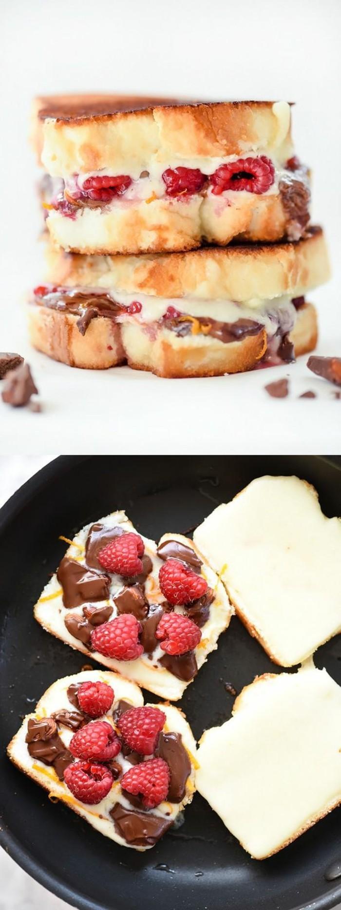 Sandwiches-mit-Himbeeren-Schokolade-Mandeln-und-gegrilltem-Käse