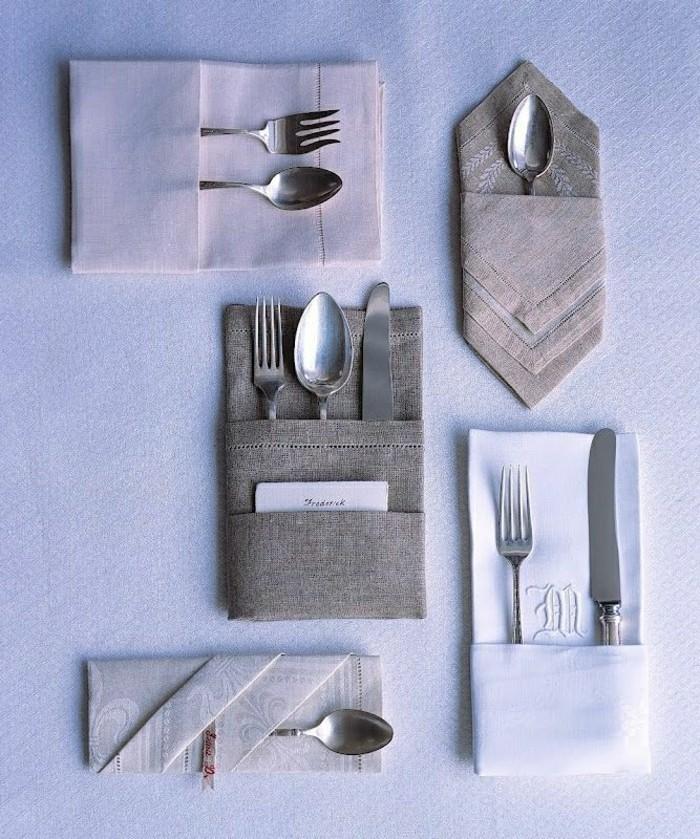 Servietten-falten-auf-elegante-Weise-in-Grau-und-Lila