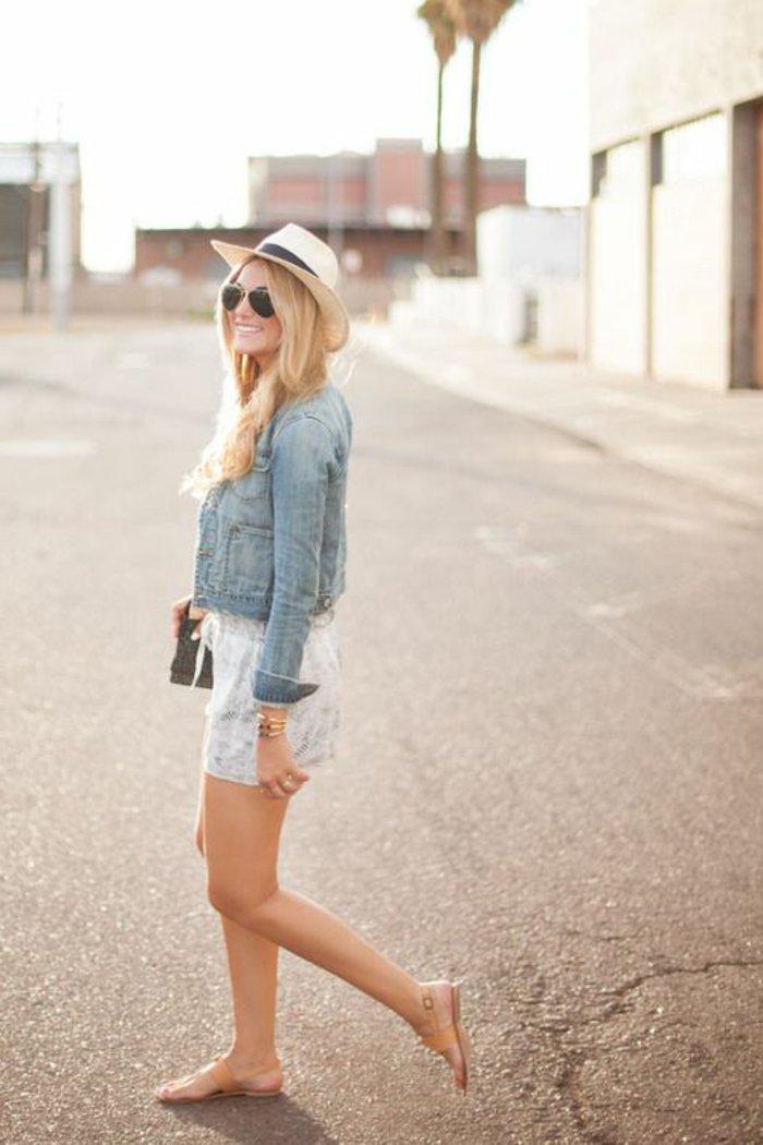 Sommerjacke-Damen-Strohhut-attraktiver-Outfit