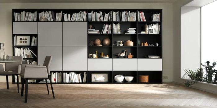 Stillvolles-schwarz-weißes-Regalsystem-mit-viel-Stauraum