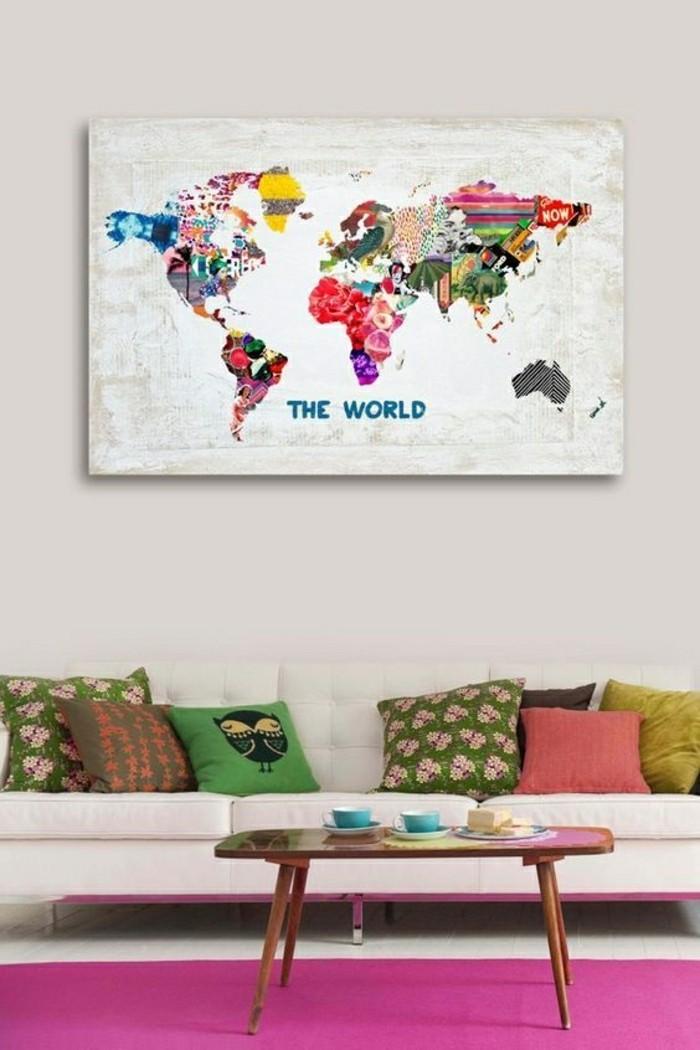 Wandbild-mit-coolem-Leinwand-Druck-farbige-Weltkarte